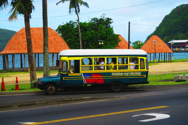 Pago Pago special bus from pickup truck American Samoa