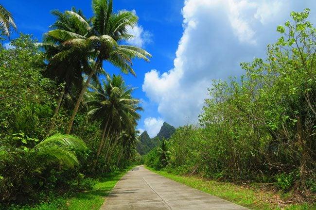 Paved road in Ofu Island American Samoa