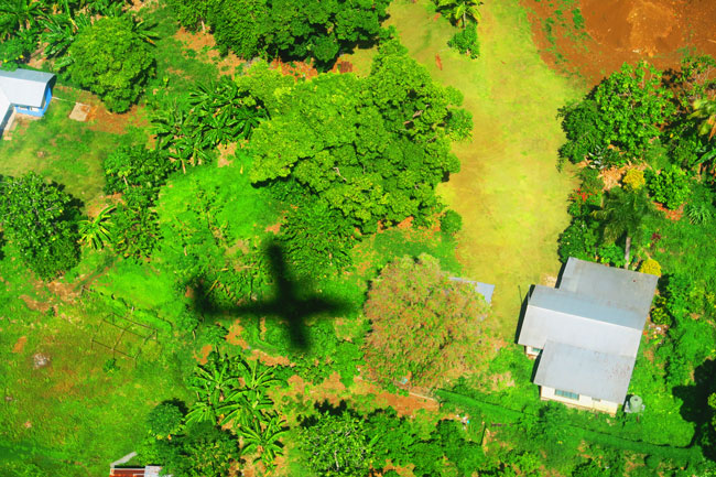 Polynesian Airline silouette over Samoa