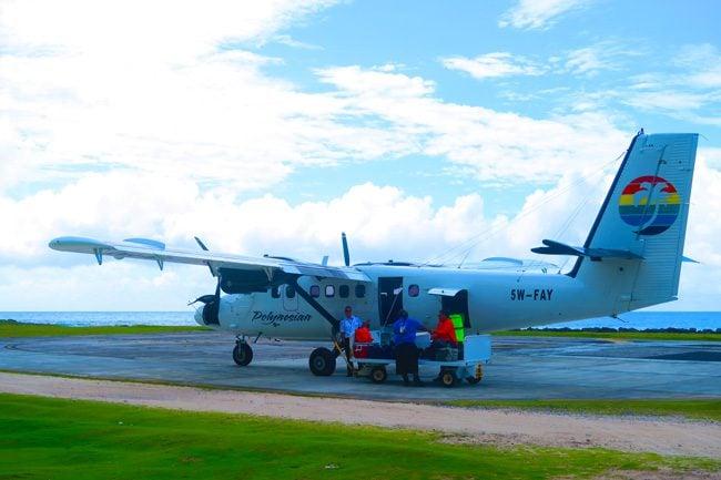 Polynesian Airlines landing in Ofu Island American Samoa