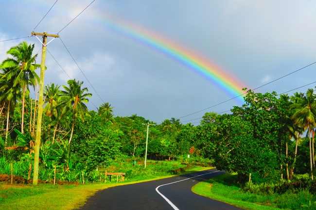 Rainbow in Savaii Samoa roadtrip