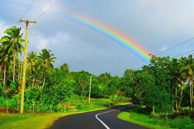 Rainbow in Savaii Samoa roadtrip