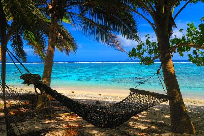 Relaxing on hammock at Ofu Beach American Samoa