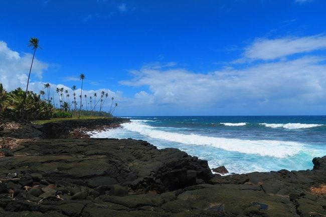 Rugged beach Savaii Samoa