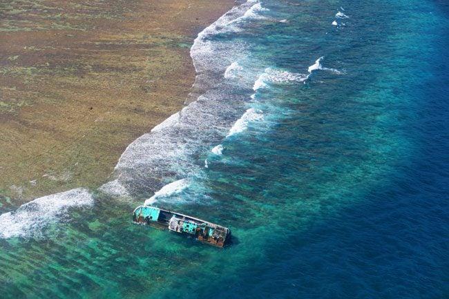 Shipwreck of the coast of Pago Pago American Samoa