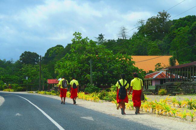 Sleepy Village Savaii Samoa - school children