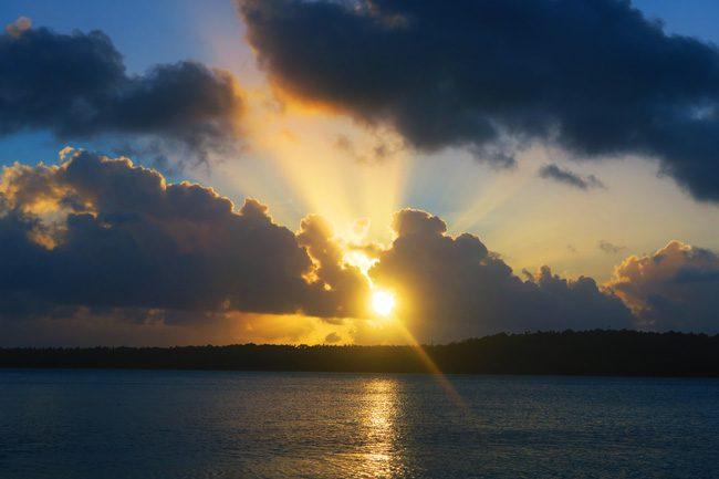Sunset in Aitutaki cook islands Inano Beach Bungalows