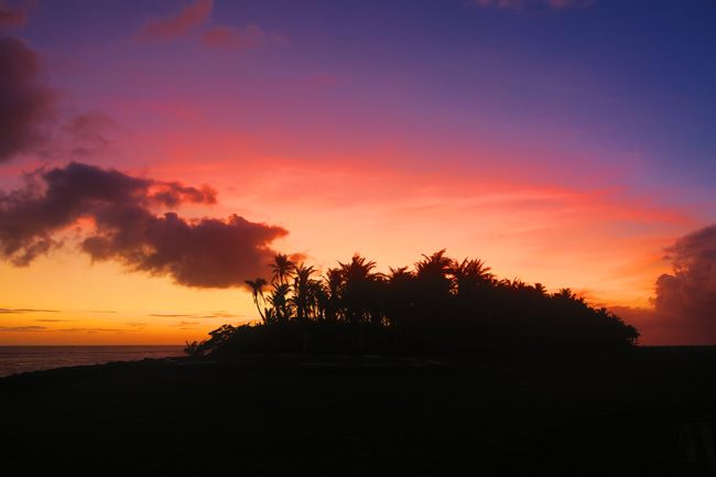 Sunset silouette in Ofu Island American Samoa