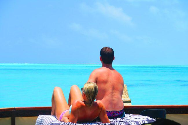 The Vaka Cruise couple relaxing