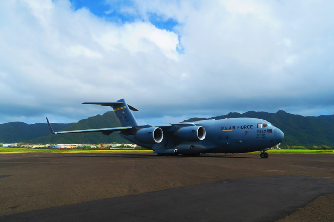 US air force plane in Pago Pago American Samoa airport
