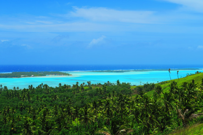 View of Aitutaki Lagoon from Mount Maungapu Cook Islands