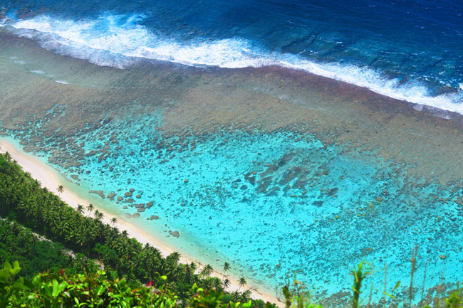 View of Ofu reef from Mount Tumu American Samoa