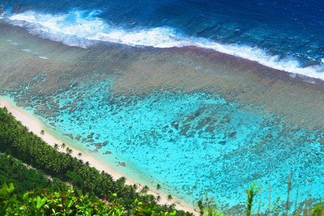View of Ofu reef from Mount Tumu American Samoa