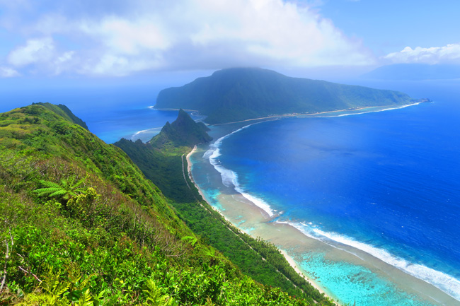 View of Olosega from top of Mount Tumu American Samoa