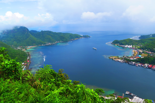 View of Pago Pago harbor from Mount Alava American Samoa