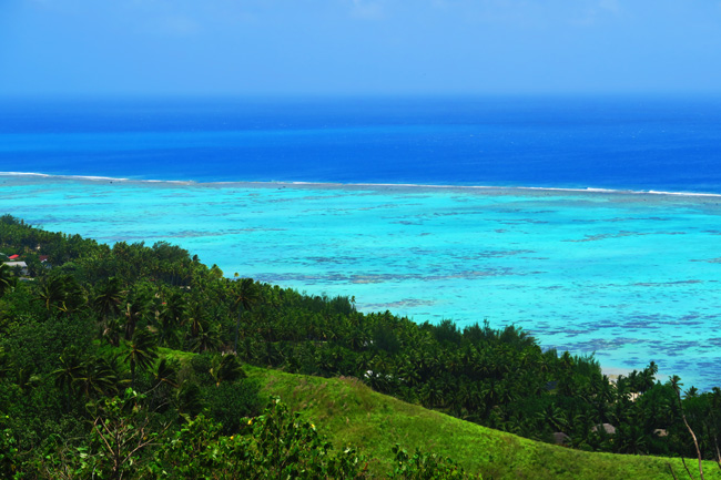 View of coral reef off Aitutaki from Mount Maungapu Cook Islands