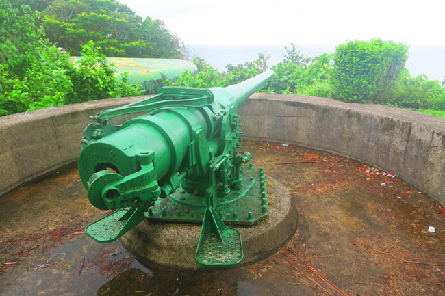 WWII gun in American Samoa - Blunts Point Trail