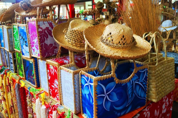 Bags and hats Papeete market Tahiti French Polynesia