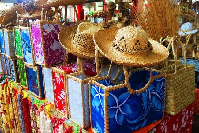 Bags and hats Papeete market Tahiti French Polynesia