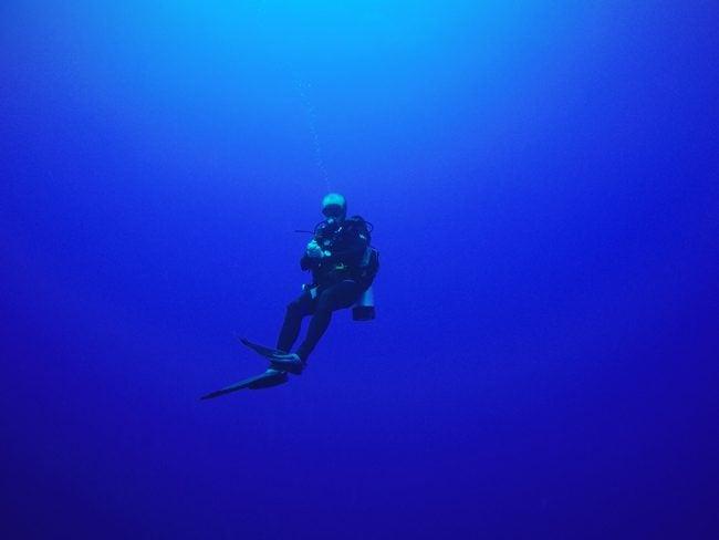Diving in Rarotonga Cook Islands in the open ocean