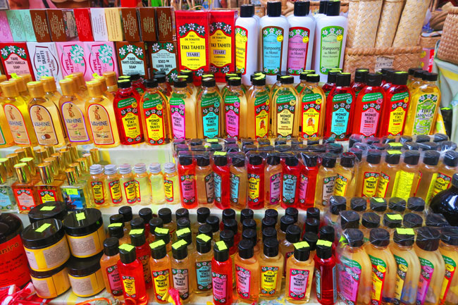 Monoi Oils at Papeete market Tahiti French Polynesia