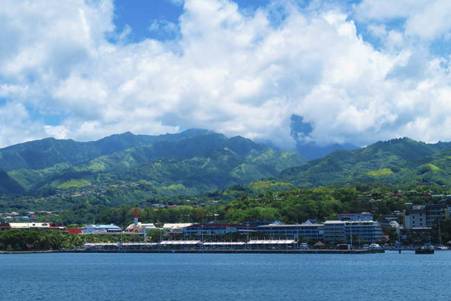 Papeete harbor panoramic view Tahiti French Polynesia