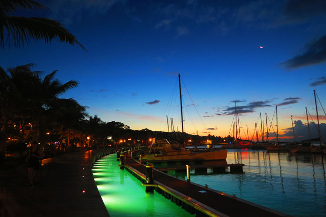Papeete waterfront at night Tahiti French Polynesia