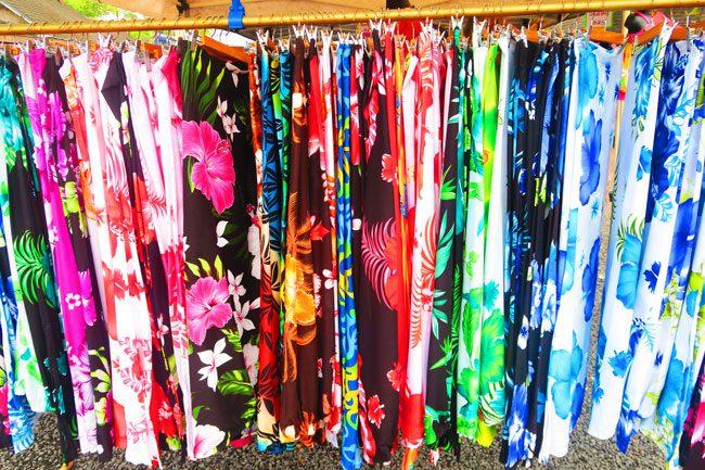 Punanga Nui Market colorful sarongs Rarotonga Cook Islands