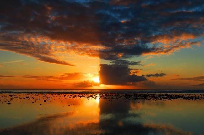 Sunset in Rarotonga Cook Island amazing view