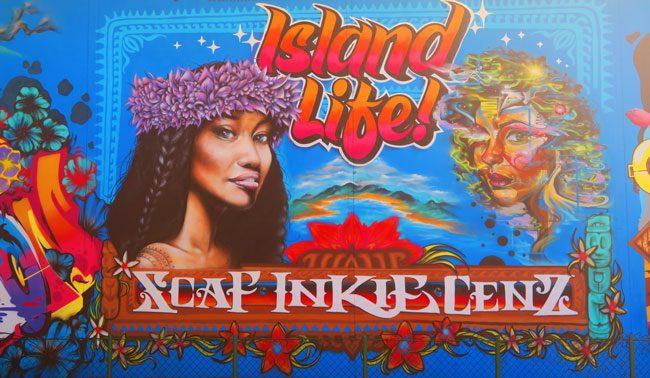 Tahitian murals in Papeete Tahiti French Polynesia