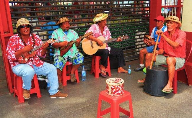 Tahitian ukulele music in Papeete Market Tahiti French Polynesia