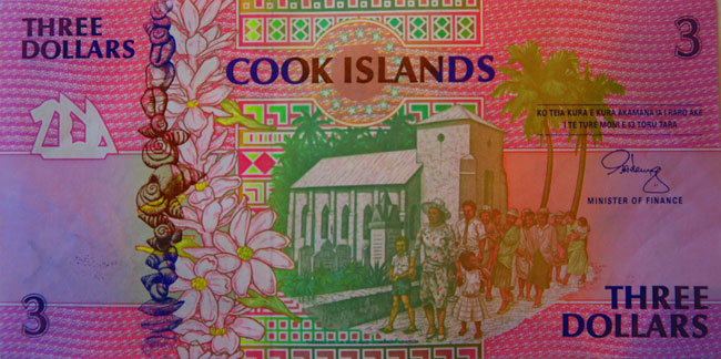 Three dollar bill Cook Islands