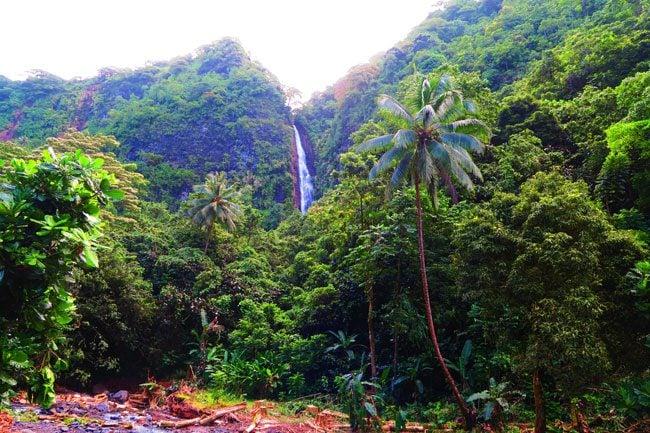 Three waterfalls Vaimahutu Falls Faarumai Tahiti French Polynesia