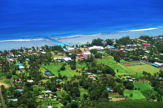 View of Arorangi from Mount Raemaru Rarotonga Cook Islands