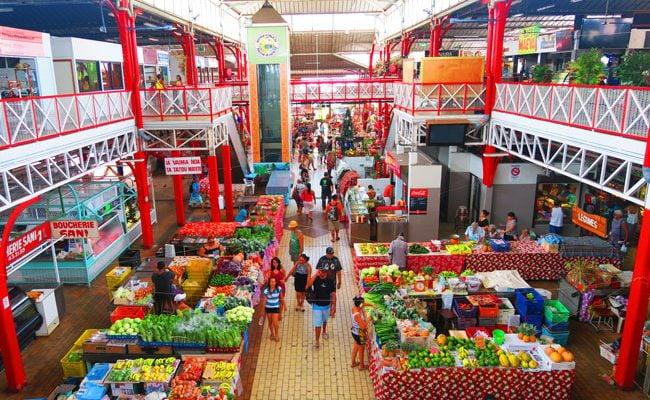 View of Papeete Market Tahiti French Polynesia