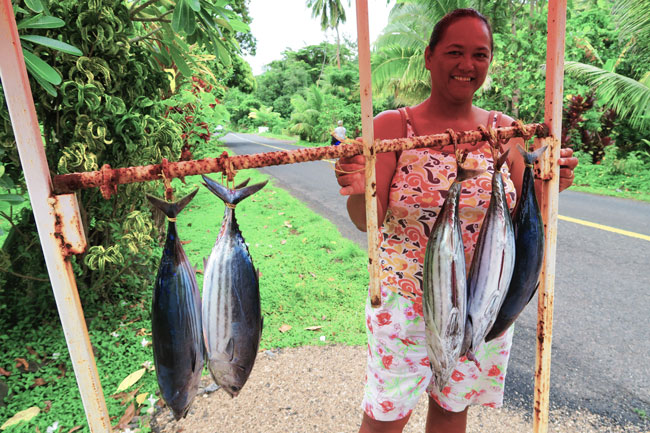 Buying fish in Moorea French Polynesia