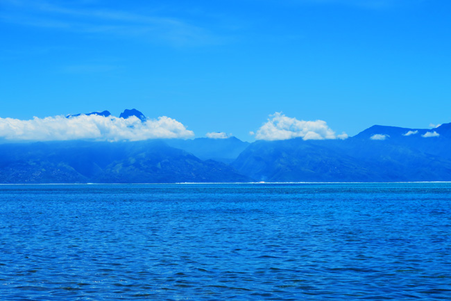 Clear view of Tahiti from Moorea French Polynesia