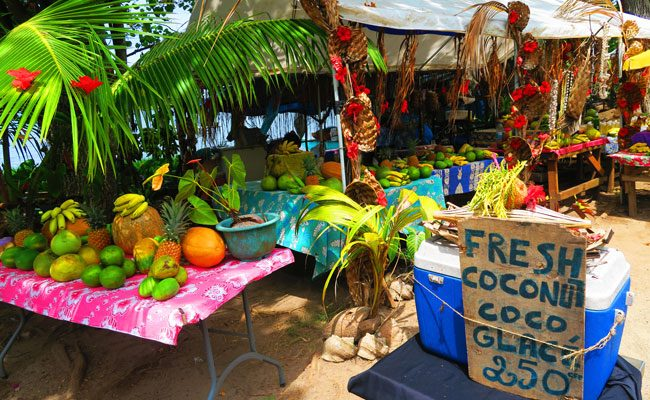 Fruits stalls in Moorea French Polynesia