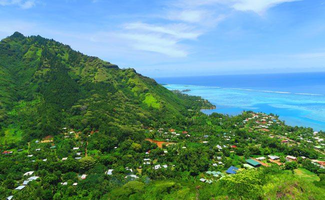 Magical Mountain Moorea French Polynesia view of mountain and lagoon