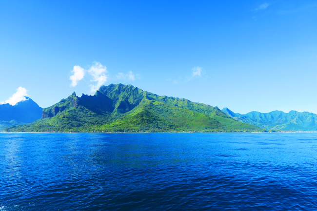 Moorea French Polynesia coastline from ocean