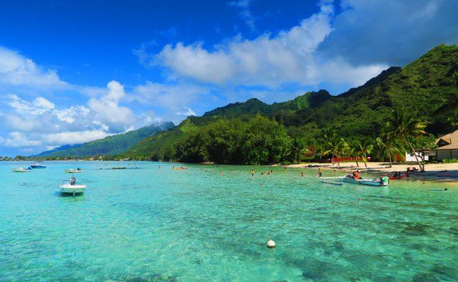 Motu beach Les Tipaniers Moorea French Polynesia view of lagoon