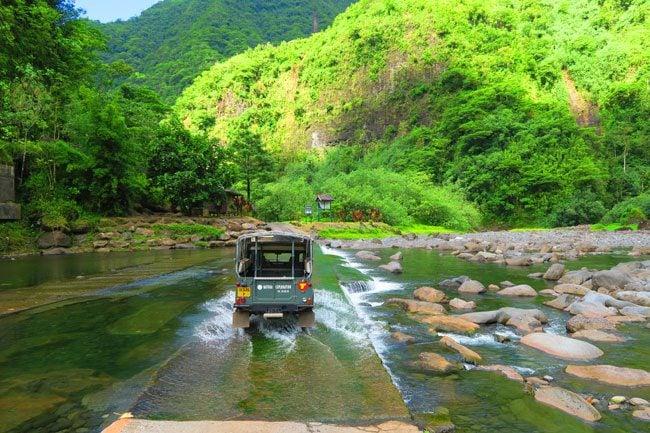Papenoo Valley Tahiti driving through river