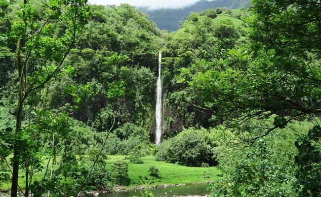 Papenoo Valley Tahiti huge waterfall