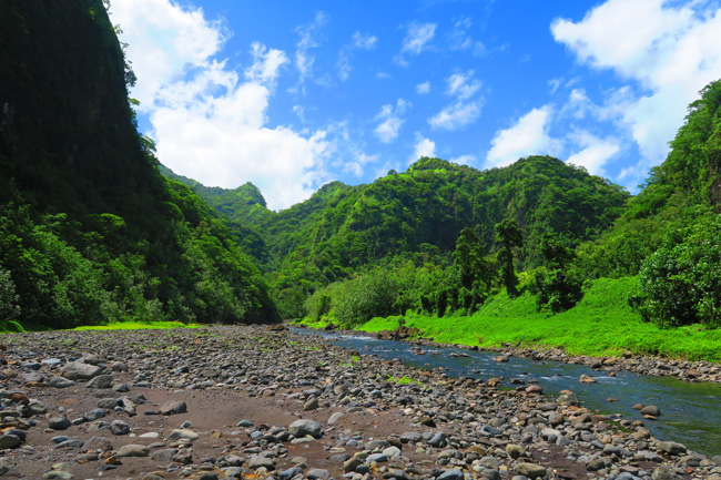 Papenoo Valley Tahiti mountains and river view