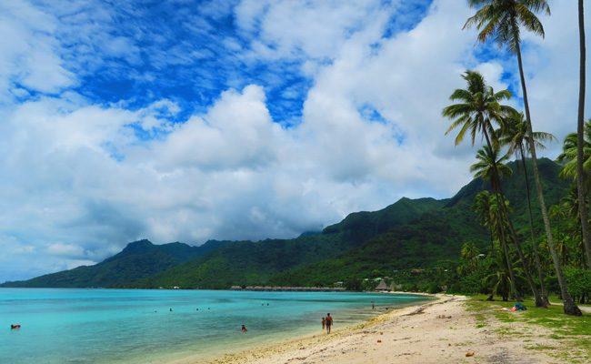 Temae tropical beach Moorea French Polynesia