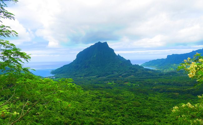 Three coconuts hike Moorea French Polynesia view of Mount Rotui and bays