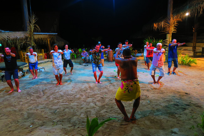 Tiki Village Moorea learning to dance men
