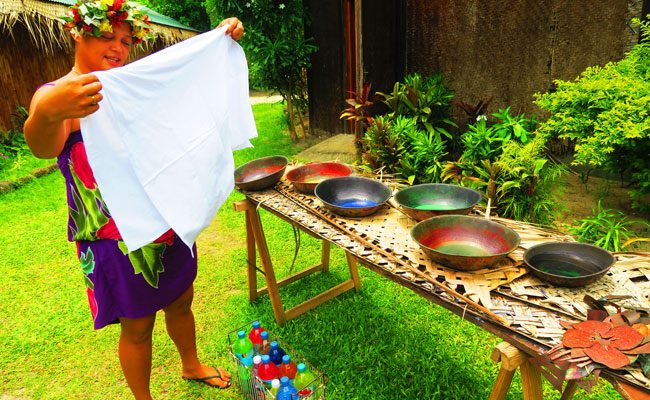 Tiki Village Moorea making pareo