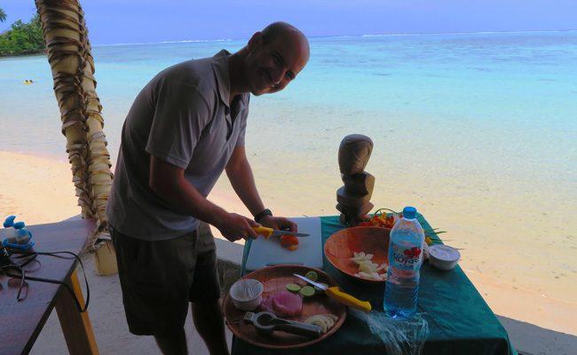 Tiki Village Moorea making poisson cru