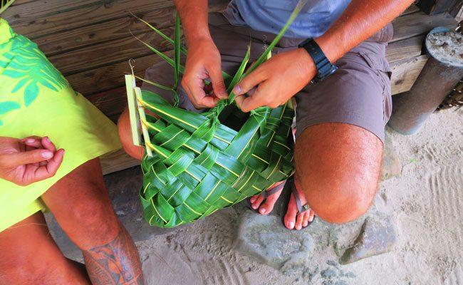 Tiki Village Moorea weaving basket